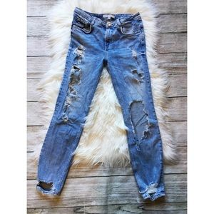 Zara Ripped Skinny Jeans Distressed Bling